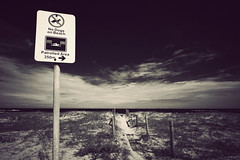 Where Cats Are Free To Roam (lemmingstone) Tags: dogs sign clouds swimming canon vintage newcastle surf australia safety nsw newsouthwales 1022mm dogbeach greatphoto nobbysbeach