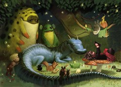 It's nice to have a friend who reads (picture_them_perfect) Tags: cute illustration forest photoshop reading book photo manipulation fairy fantasy childrens monsters enchanted