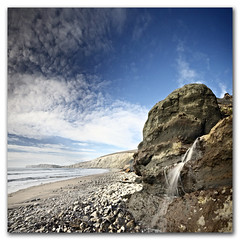 Long exposure wide angle illusion. (Come with me on a journey through time and space) (s0ulsurfing) Tags: ocean longexposure light sea wild sky panorama cliff cloud sunlight seascape beach nature water rock clouds compositi