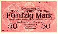 Kaufbeuren i/Allgau, 50 M, 1918 (Iliazd) Tags: germany inflation notgeld papermoney germancurrency emergencymoney 19171922 germanpapermoney