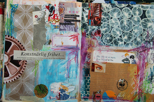 Not finished - art journal spread (copyright Hanna Andersson)