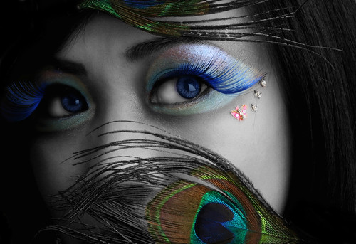 Blue Eye Makeup Peacock Eyelashes Decorated