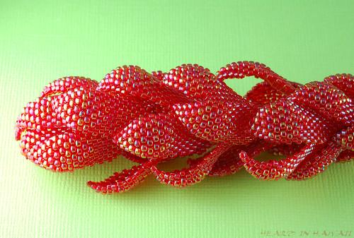 beaded red ginger flower hair stick