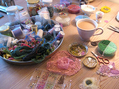 My studio (Fleur de Boheme) Tags: art vintage studio beads lace craft pearls textileart