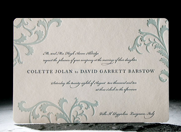 Vettore letterpress wedding invitation - midnight blue and sea mist - Smock