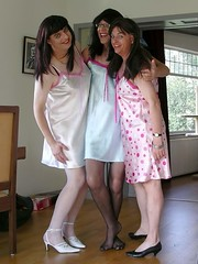 Three nightie girls (Paula Satijn) Tags: shiny silk tgirl transvestite satin silky nightgown nightdress nightie