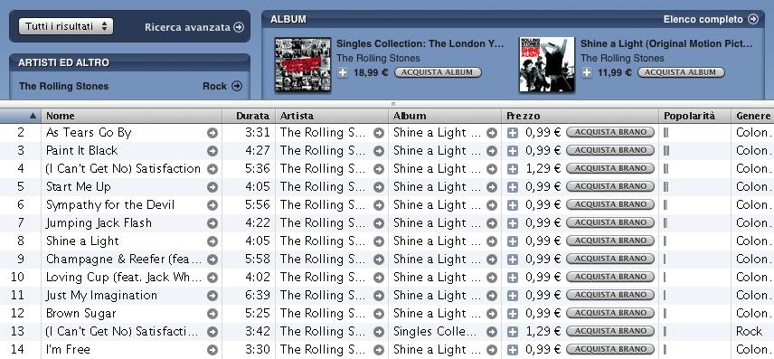 Rolling Stones a prezzo variabile sull'iTunes Store