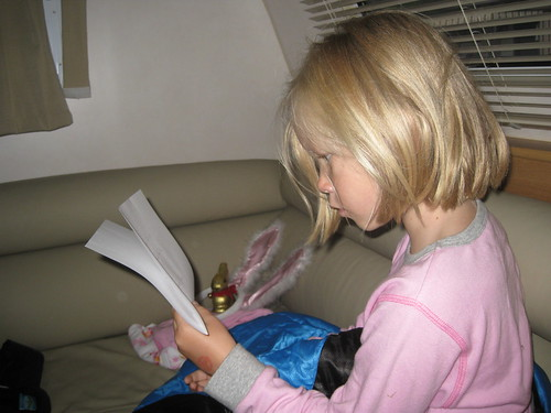 Christy reading letter from Easter bunny