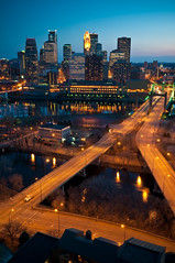 Angles on Minneapolis (Greg Benz Photography) Tags: photography mississippiriver wellsfargo idstower downtownminneapolis forkintheroad hennepinbridge hennepinave orangeroad minneapolisskyline explore428 carbonsilver 20secondstne twincitiess nicolleteisland