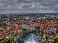 The Highest Point (photographie par kim) Tags: york old city roof sky skyline clouds buildings grey town high scaffolding view rooftops cloudy yorkshire overcast scaffold yorkminster hdr birdseye eagleeye photomatix
