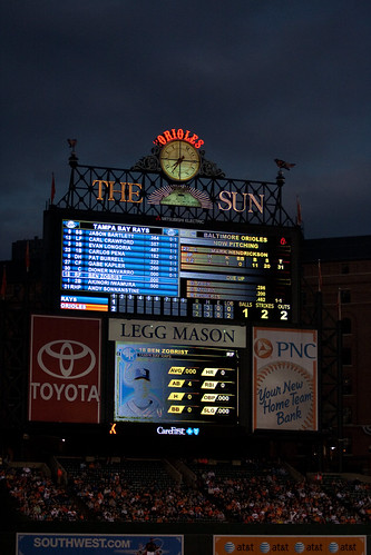 Scoreboard in the 2nd. Zobrist up to bat