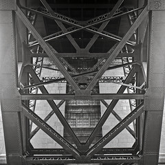 Tyne Bridge (Andrew Dyer) Tags: bridge mamiya mediumformat newcastle rivets iso400 symmetry ironwork f8 andrewsphotos kodaktmax blackandwhitefilm 160s ukflickrmeet 6by6 mamiyac330s upcoming:event=1827864 mamiyascans streetshootinginyork takenbyandrewdyer