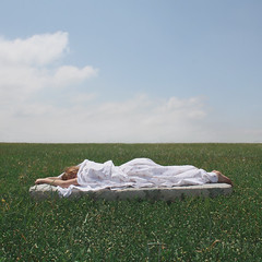 (Anna Hollow) Tags: sleeping anna me girl field sunshine clouds mattress annahatzakis annahollow