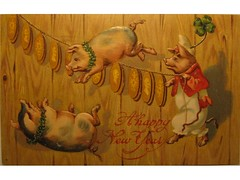Antique postcard:  New Year pigs (Baltimore Bob) Tags: old pig coin coins antique postcard newyear pigs newyears clover fourleaf