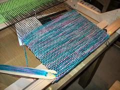Ashford rigid heddle loom with weaving