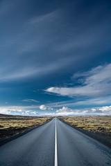 On the Road Again (Pezti) Tags: road blue white black green clouds landscape iceland moss may line explore maí asphalt 2009 ísland reykjanes whitelines landslag explored ndgrad canoneos1dsmkii canonef1635mmf28l péturgeirkristjánsson