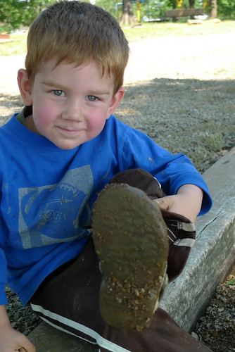 Avery's muddy shoes