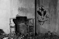 Abandoned House (07) - 21Mar09, Montcalm (France) (]) Tags: chimney blackandwhite bw house brick abandoned broken word skull graffiti noiretblanc decay destruction tag ruin nb ruine brique maison chemine urbex crne cass abandonn dcrpitude montcalm dtruit dcrpi