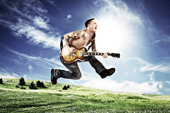 RemiJump (Glenn Meling) Tags: blue sky green grass photoshop jump skies guitar bees alien manipulation gibson remi strobist