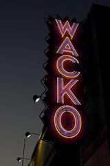 Wacko (dogwelder) Tags: california sky june night letters neonsign losfeliz zurbulon6 2009 wacko soapplant zurbulon
