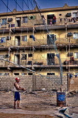Let's Play (KoRaYeM) Tags: street streets building home sports yellow canon buildings photography workers junk industrial streetphotography sigma player junkyard pathetic handball f28 hdr hdri doha qatar lightroom postprocessing 2470mm industrialcity flickrexplore sigma2470mmf28 tonemapping sigma2470f28 40d