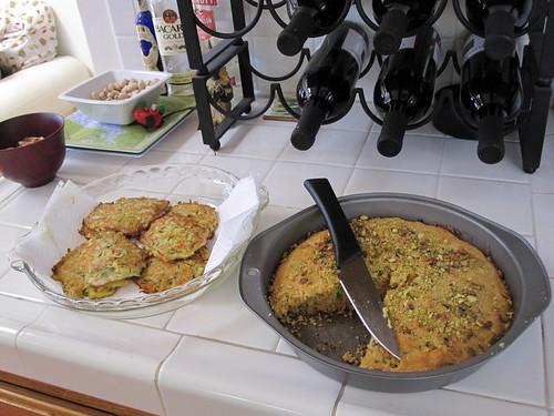veggie latkes & pistachio basil cornbread
