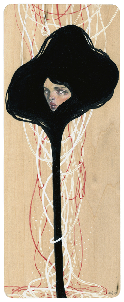 "Ravel. 4""x10"". Mixed Media (Graphite, Acrylic, Metallic Pen & Watercolor on Wood). ©2009."