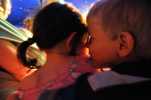 cousinly hugs at the circus