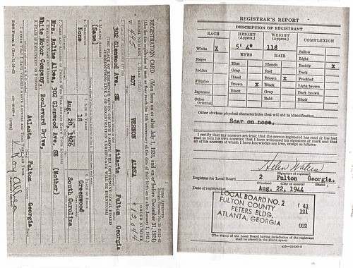 Roy Albea Sr, WWII Draft Card