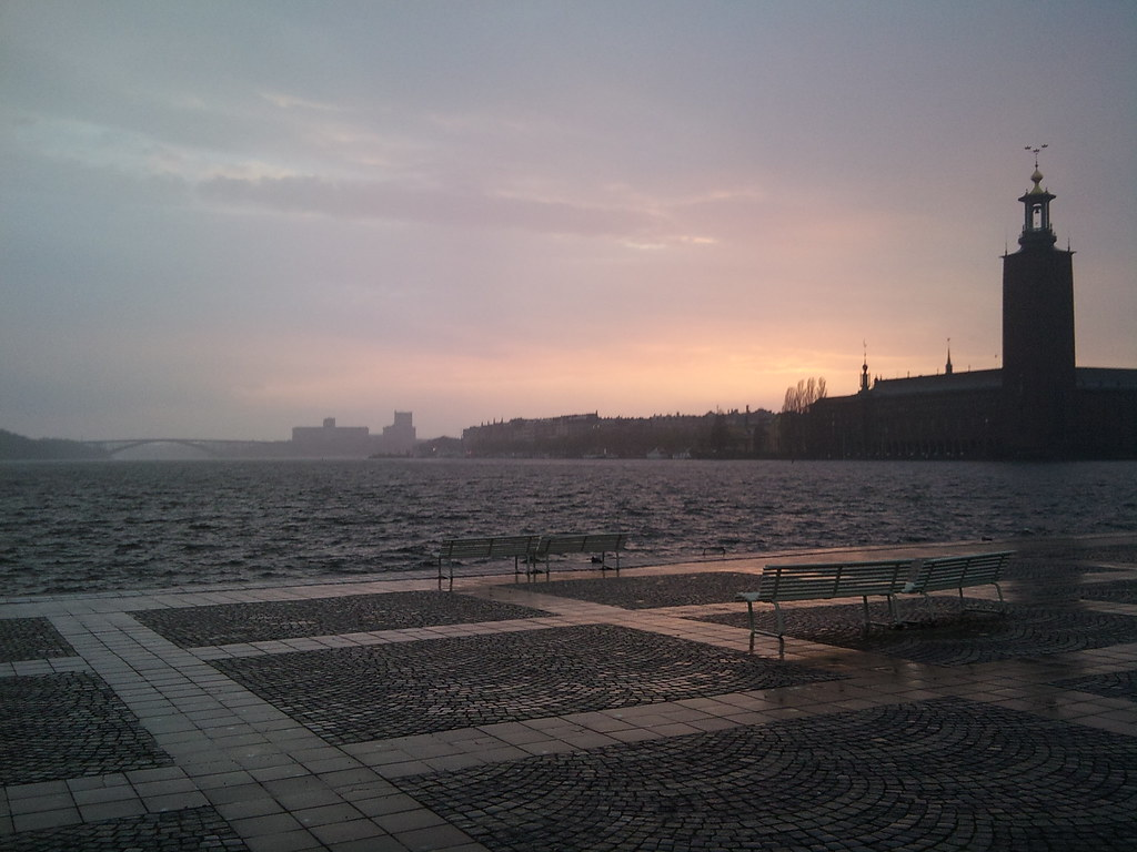Sunset in the rain over Stockholm City Hall - 4