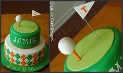 Golf themed groom's cake. (Christina's Dessertery) Tags: orange white green field cake ball golf flat tennessee argyle themed grooms vols fondant mmf christinajohnson creativecakedesigns