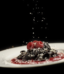 Chocolate Pasta with Raspberry Coulis and Grated White Chocolate