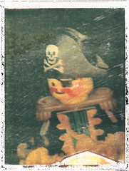 Lego Pirate Transfer - Fuji FP100-C (Polaroid CU-5) (milgy) Tags: camera color macro film childhood closeup analog paper polaroid skull cu fuji lego printer 5 dental 80s pirate gloss transfer crossbones ringflash 4x6 peelapart fp100c cu5 milgy