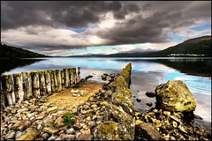 Kinloch Rannoch (manlio_k) Tags: sky lake reflection water scotland stones kinloch hdr rannoch photomatix tonemapped tonemap