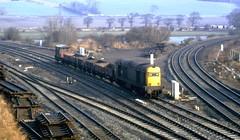 Class 20 20201 Inverkeithing 19/3/82 (Stapleton Road) Tags: class20 choppers britishrail railwayphotography scotland invrerkeithing freight railway junction inverkeithing guardsvan 20201 scrap yard wagons frost