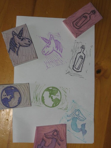Hand Carved Stamps - world, mermaid, message in a bottle, unicorn