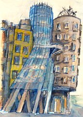 Prague (The Dancing House) (alesmotyl) Tags: art prague drawing sketches  locationdrawing urbansketches praguetravelsketchbookfrankgehrycitytown