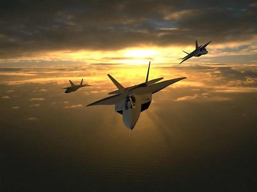 Tres F-22 en formacion
