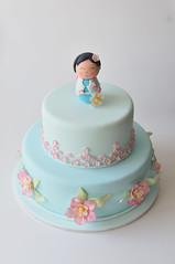 China Doll Christening Cake (Sweet Tiers) Tags: china birthday flowers cake children design doll hand sugar made christening figurine