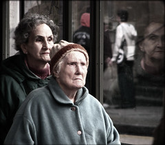 Bus stop (Che-burashka) Tags: street reflection london portraits candid busstop oldpeople woolwich otherlondon