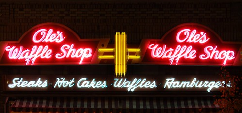 Ole's Waffle Shop Sign at Night