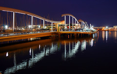 Night Port (Katka S.) Tags: barcelona city light sky espaa reflection water architecture port silver reflections puerto evening spain foto competition ciudad medal catalunya catalua fotocompetition fotocompetitionbronze fotocompetitionsilver