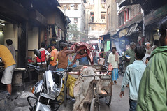 Meat Cart, Kolkata India (Laura Dunn-Mark) Tags: travel people india men alley chinatown market cut muslim side meat butcher lane delivery indians bazaar cart heavy 2008 kolkata calcutta stalls lifting westbengal vendors lauradunnmark tiretta