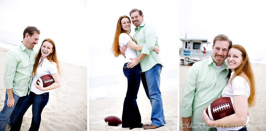 Zuma beach football engagement session
