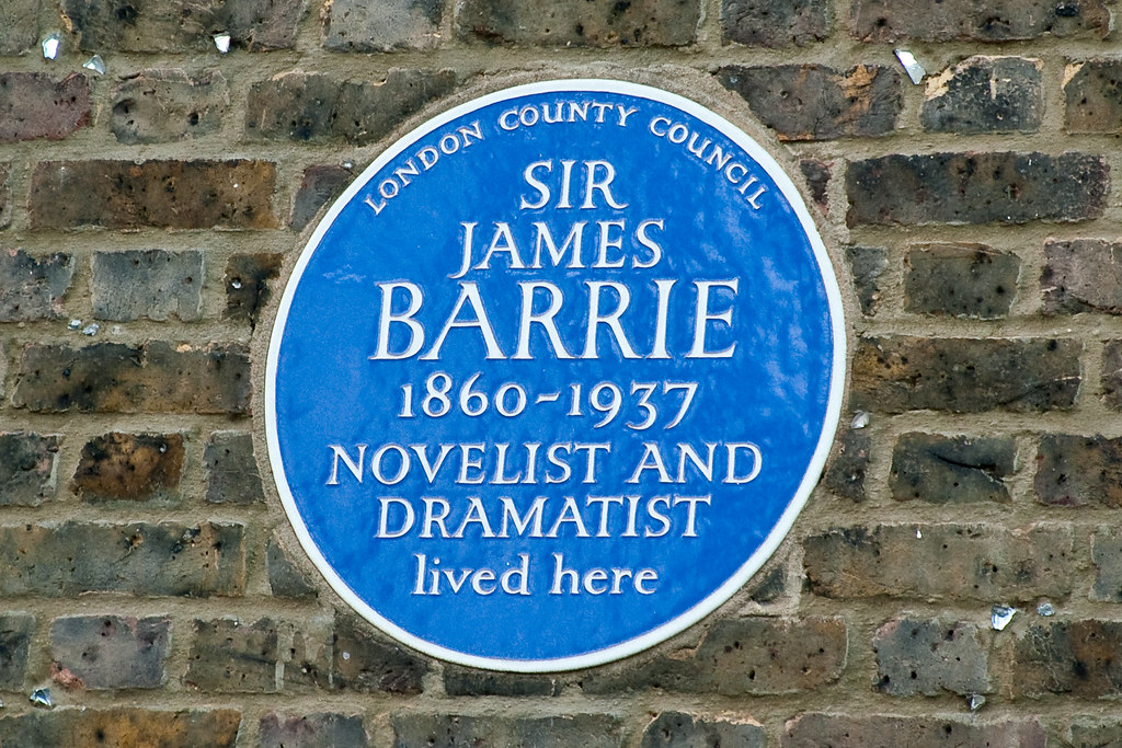 J. M. Barrie blue plaque - Sir James M. Barrie 1860-1937 novelist and dramatist lived here