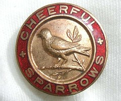 Cheerful Sparrows - fete badge (1930's) (RETRO STU) Tags: kent enamelbadge queenelizabeththequeenmotherhospital cheerfulsparrowsfete thanethospital hospitalcharities ormondhometrust folkstonegolfcourse