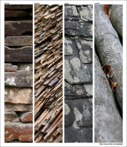 Collage of building materials - stone, thatch, slate, and wood. By flickr user ...jeddy3