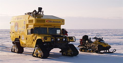 The Moon-1 Humvee Rover and Bombardier Snowmobiles