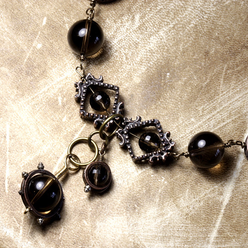steampunk Jewelry made by CatherinetteRings Smoky quartz Necklace