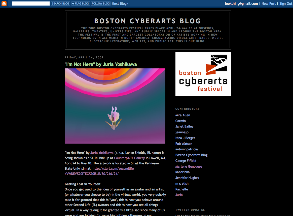 In Boston Cyberarts Blog